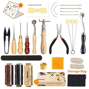 SIMPZIA  - Leather Sewing Tools 24 Pieces Leather Tools Craft DIY Hand Stitching Kit with Groover Awl Waxed Thimble Thread for Sewing Leather, Canvas,Basic Tools for Beginner