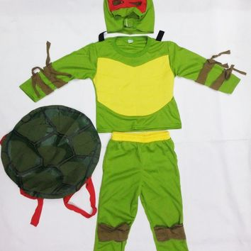 Green 3-7 years Cosplay Party boy role play clothing kid leo/Ninja turtle Halloween Costume (Turtle shell can be activity)