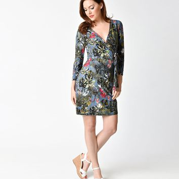 Retro Style Blue Tropical Floral Sleeved Short Wrap Dress