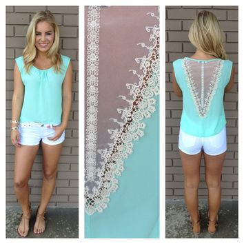 Mint One Sweet Day Lace Top