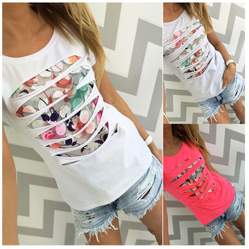 2016 summer fashion color printed hollow beads round neck short sleeve gray white pink women t shirt