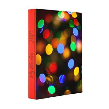 Multicolored Christmas lights. Add text or name. Mini Binder
