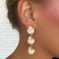 White Pearl Tri Stone Earrings