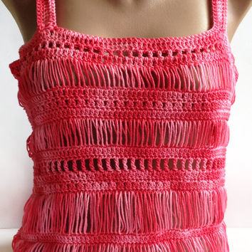 SALE/ Crocheted Tops/ Bohemian Crochet Lace Beachwear/ Hairpin Crochet Tops/ Loom Top/ Girls Lace Top/ Red Crochet Top/ Crochet Cotton Top