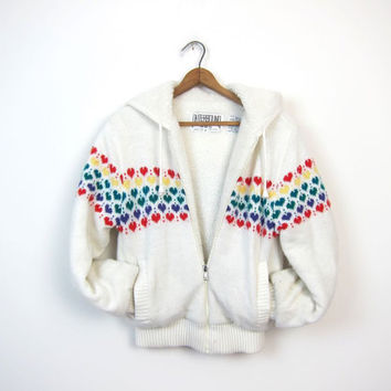 White 80s HEART Sweater Coat Sherpa Lined Thick Knit Zip Up Jacket with Hood 1980s Hipster Retro Boho Skater Girl Coat Vintage Small