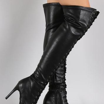 Breckelle Lace Up Over the Knee Pointy Toe Stiletto Boots
