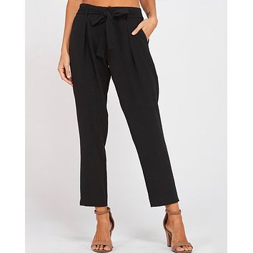 pleated belted bow crepe pants with pockets - black