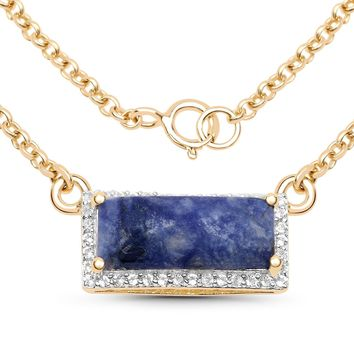 LoveHuang 2.12 Carats Genuine Blue Aventurine and White Topaz Rectangle Bar Necklace Solid .925 Sterling Silver With 18KT Yellow Gold Plating, 18Inch Chain