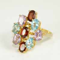Vintage CZ Ring Multi Colored Stone Ruby Aquamarine Amethyst