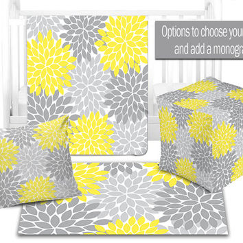 BABY NURSERY DECOR, Flower Burst Yellow Gray Blanket,Ottoman Pouf, Zipper Throw Pillow, Baby Monogram, Matching Nursery Bedding, Nursery Rug