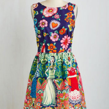 Skulls Mid-length Sleeveless A-line Frida Your Mind Dress by ModCloth