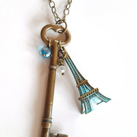 Skeleton Key Eiffel Tower Pendant Necklace Aqua Turquoise