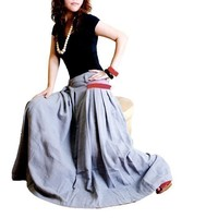 less is more RED POCKET LONG SKIRT gray Q1001 by idea2lifestyle