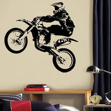 Wall Decal Vinyl Sticker Decals Art Decor Design Dirty Motocross Motorcycle Jumping Moto Sport Extrime Kid Children Cool Gift Bedroom(r1263)