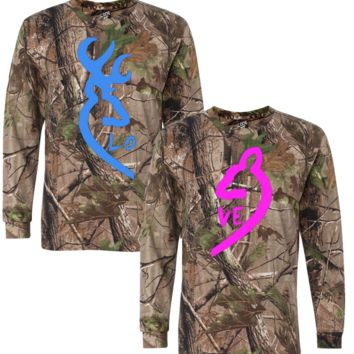 browning deer realtree tshirt and long sleeve love couple