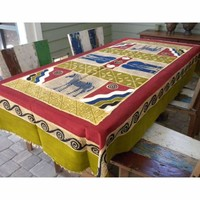 Hand-Painted Tablecloth from Africa 92 x 52 inches