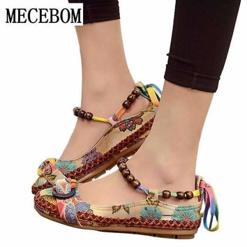 Women Ethnic Lace Up Beading Round Toe Comfortable Flats Colorful Loafers Casual Embroidered Cotton Shoes 7013W