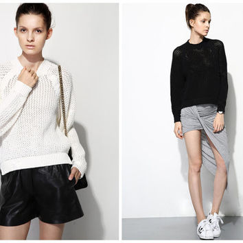 womens sweaters in white,black,oversized,silt at side,sheer,fashion,chic,for autumn and winter.--E0417