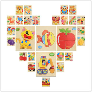 3D Puzzle Wooden Toy Jigsaw For Children Cartoon Animal Cars Fruit Fish Puzzle Intelligence Kids Educational Toys