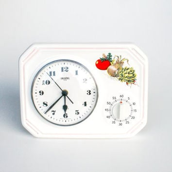60's Ceramic Wall Clock with Eggtimer / Mid Century German Kitchen Clock Timer