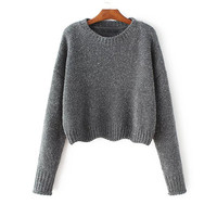 Grey Chenille Drop Shoulder Crop Sweater
