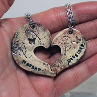 Mother and daughter pendants Butterfly and dandelion Plum Puzzle necklaces