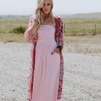 Making Waves Strapless Maxi Dress - Pink