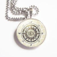 Silver Compass Personalized Monogram Necklace