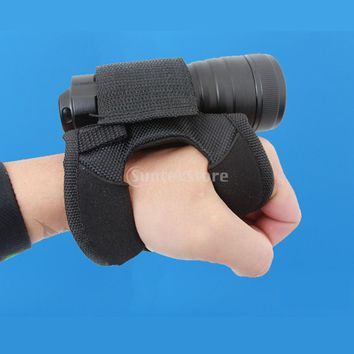 Hand Free Durable Adjustable Light Holder Portable Holster Soft Glove for Scuba Dive Diving Underwater LED Torch Flashlight