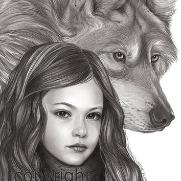 Renesmee, Breaking Dawn Part 2, Pencil Drawing, Portrait 8x10 Fine Art Print by Wendy Hogue Berry