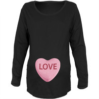 Pink Love Candy Heart Womens Black Soft Maternity T-Shirt