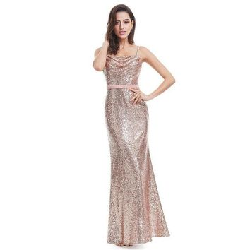 Sparkle Prom Dress A Line Spaghetti Straps Floor Length Women Elegant Sequins Long Party Prom Gown