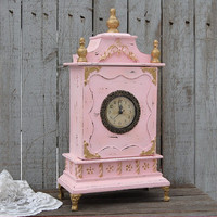 Clock, Shabby Chic, Pink, Gold, French Provincial, Hand Painted, Distressed, French Decor, Valentine Gift