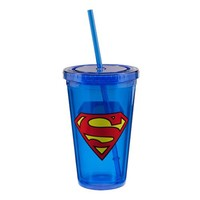 Vandor Superman 18-Ounce Acrylic Travel Cup with Lid and Straw, Blue
