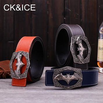 Batman Dark Knight gift Christmas CK&ICE 2018 New Designer Mens Leather Belt Causal Fashion Alloy Batman logo Smooth Buckles Hot Luxury Brand Waistbelt For Men AT_71_6