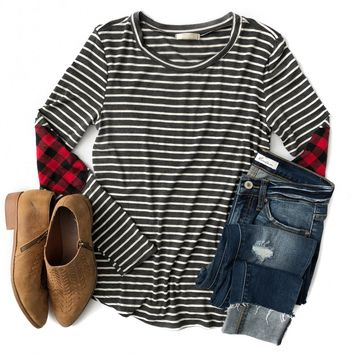 Charcoal Stripe Top with Buffalo Plaid Elbow Patches