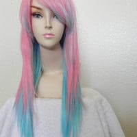 SALE // Cotton Candy Ombre / Pink and Blue  / Long Straight Layered Wig Pastel Lolita Kawaii Costume Party