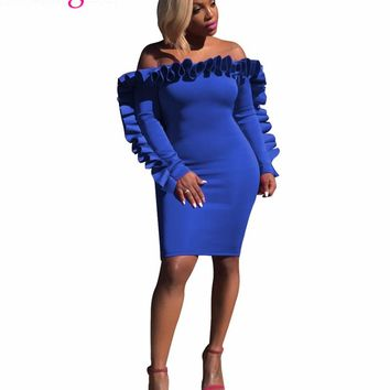 New Chic Ruffle Off Shoulder Bodycon Sexy Dress