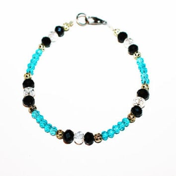 Blue and Black Crystal Bracelet with Silver Accents