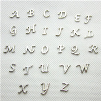 Hot selling 130pcs/lot silver 26 alphabet letter A-Z  floating charms living glass memory floating lockets for diy jewelry