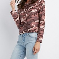 Camo Cropped Drawstring Hoodie | Charlotte Russe