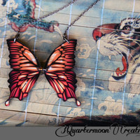 Acrylic Laser Cut Orange Monarch Butterfly Wings Statement Necklace - SMALL