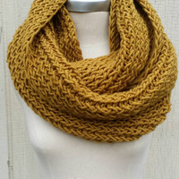Mustard Scarf, Knit Infinity Scarf Gold, Mustard, Dark Yellow, Goldenrod, Amber Loop Scarf, Mobius Circle Scarf, Fall Colors,