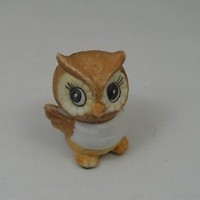 Vintage Small Owl Bisque Figurine with Bib Large Eyes