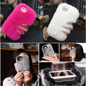 Fashion Luxury Fluffy Rabbit Hair Winter Phone Case For iPhone 5 5s SE 6 6s 7 7Plus Soft Women Girl Rhinestone Bling Covers
