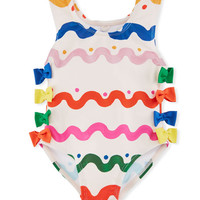 Stella McCartney Kids Lisa Squiggly-Print One-Piece Swimsuit w/ Bows, Size 12-36 Months