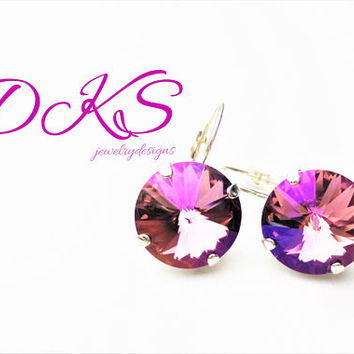 Celadon Rose, 14MM Swarovski Earrings, Dangles, Drops, Rainbow, Lever Back, Pink, Rhodium, DKSJewelrydesigns, FREE SHIPPING