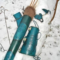 Hip Quiver & Arm Guard in a Tooled Archery Leather Set Blue Celtic Stag