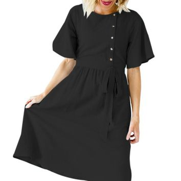 Black Asymmetrical Button Up Front Midi Dress
