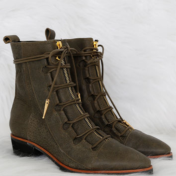 MODERN VICE x SCARLET | Oklahoma Lace-Up Boot - Dark Green
